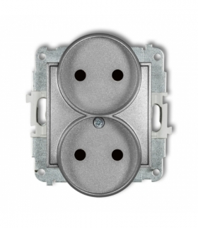 MINI Mechanizm gniazda podwójnego do ramki bez uziemienia 2x2P (przesłony torów prądowych) Srebrny metalik Karlik 7MGPR-2p