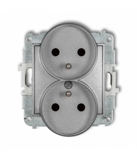 MINI Mechanizm gniazda podwójnego do ramki z uziemieniem 2x(2P+Z) (przesłony torów prądowych) Srebrny metalik Karlik 7MGPR-2zp