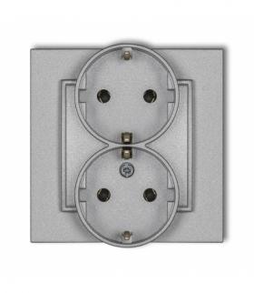 MINI Gniazdo podwójne z uziemieniem SCHUKO 2x(2P+Z) (bez przesłon torów prądowych) Srebrny metalik Karlik 7MGP-2s