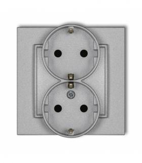 MINI Gniazdo podwójne z uziemieniem SCHUKO 2x(2P+Z) (przesłony torów prądowych) Srebrny metalik Karlik 7MGP-2sp