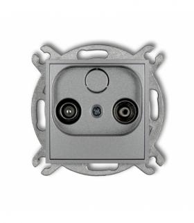 MINI Mechanizm gniazda abonenckiego RTV końcowego 2dB Srebrny metalik Karlik 7MG2K