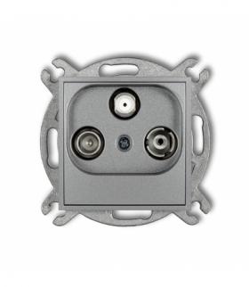 MINI Mechanizm gniazda abonenckiego RTV-SAT końcowego 15dB Srebrny metalik Karlik 7MGS