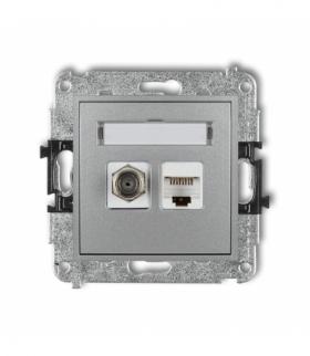 MINI Mechanizm gniazda antenowego poj. typu F (SAT) + gniazda komp. poj. 1xRJ45 kat. 5e 8-stykowy Srebrny metalik Karlik 7MGFK