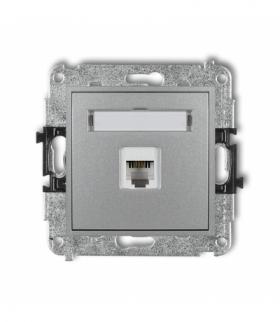 MINI Mechanizm gniazda telefonicznego pojedynczego 1xRJ11 4-stykowy beznarzędziowe Srebrny metalik Karlik 7MGT-1