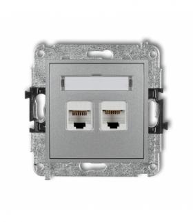 MINI Mechanizm gniazda telefonicznego podwójnego 2xRJ11 4-stykowy beznarzędziowe Srebrny metalik Karlik 7MGT-2