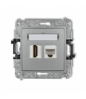 MINI Mechanizm gniazda telefonicznego poj. 1xRJ11 + komputer. poj. 1xRJ45 kat. 5e 8-stykowy beznarzędziowe Srebrny 7MGTK