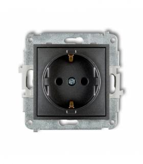 MINI Mechanizm gniazda pojedynczego z uziemieniem SCHUKO 2P+Z (przesłony torów prądowych) Grafitowy Karlik 11MGP-1sp