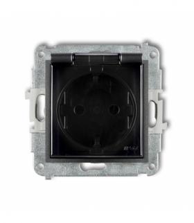 MINI Mechanizm gniazda bryzgoszczelnego z uziemieniem SCHUKO 2P+Z (klapka dymna przesłony torów prądowych) Grafitowy Karlik 11MG