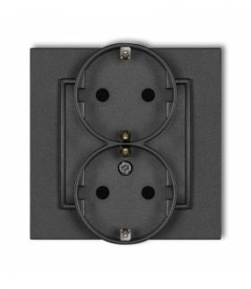 MINI Gniazdo podwójne z uziemieniem SCHUKO 2x(2P+Z) (przesłony torów prądowych) Grafitowy Karlik 11MGP-2sp