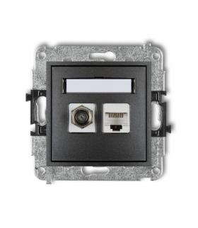 MINI Mechanizm gniazda antenowego poj. typu F (SAT) + gniazda komp. poj. 1xRJ45 kat. 5e 8-stykowy Grafitowy Karlik 11MGFK