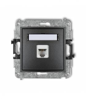 MINI Mechanizm gniazda telefonicznego pojedynczego 1xRJ11 4-stykowy beznarzędziowe Grafitowy Karlik 11MGT-1