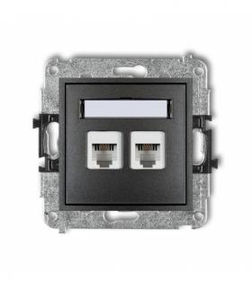 MINI Mechanizm gniazda telefonicznego podwójnego 2xRJ11 4-stykowy beznarzędziowe Grafitowy Karlik 11MGT-2
