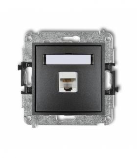 MINI Mechanizm gniazda komputerowego pojedynczego 1xRJ45 kat. 5e ekranowane 8-stykowy Grafitowy Karlik 11MGK-1e