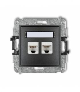 MINI Mechanizm gniazda komputerowego podwójnego 2xRJ45 kat. 5e 8-stykowy Grafitowy Karlik 11MGK-2