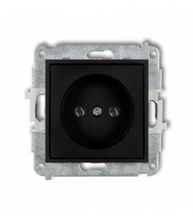 MINI Mechanizm gniazda pojedynczego bez uziemienia 2P (bez przesłon torów prądowych) Czarny mat Karlik 12MGP-1