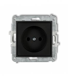 MINI Mechanizm gniazda pojedynczego bez uziemienia 2P (przesłony torów prądowych) Czarny mat Karlik 12MGP-1p