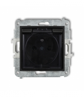MINI Mechanizm gniazda bryzgoszczelnego z uziemieniem 2P+Z (klapka dymna przesłony torów prądowych) Czarny mat Karlik 12MGPB-1zd
