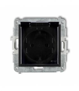 MINI Mechanizm gniazda bryzgoszczelnego z uziemieniem SCHUKO 2P+Z (klapka dymna przesłony torów prądowych) Czarny mat Karlik 12M
