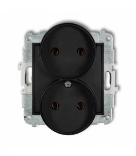 MINI Mechanizm gniazda podwójnego do ramki bez uziemienia 2x2P (bez przesłon torów prądowych) Czarny mat Karlik 12MGPR-2