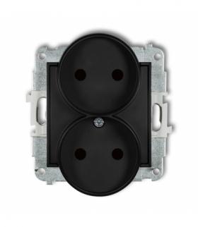 MINI Mechanizm gniazda podwójnego do ramki bez uziemienia 2x2P (przesłony torów prądowych) Czarny mat Karlik 12MGPR-2p