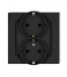 MINI Gniazdo podwójne z uziemieniem SCHUKO 2x(2P+Z) (przesłony torów prądowych) Czarny mat Karlik 12MGP-2sp