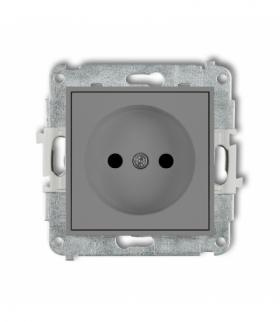 MINI Mechanizm gniazda pojedynczego bez uziemienia 2P (przesłony torów prądowych) Szary mat Karlik 27MGP-1p