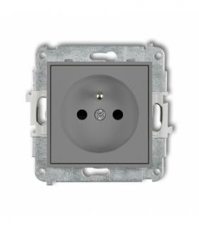 MINI Mechanizm gniazda pojedynczego z uziemieniem 2P+Z (przesłony torów prądowych) Szary mat Karlik 27MGP-1zp