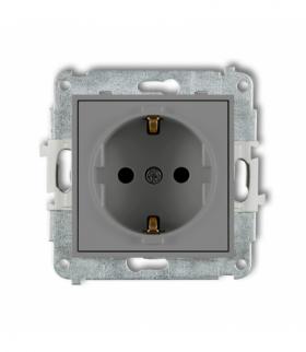 MINI Mechanizm gniazda pojedynczego z uziemieniem SCHUKO 2P+Z (przesłony torów prądowych) Szary mat Karlik 27MGP-1sp