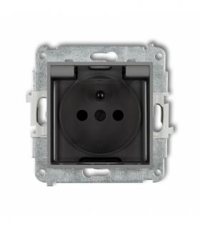 MINI Mechanizm gniazda bryzgoszczelnego z uziemieniem 2P+Z (klapka dymna przesłony torów prądowych) Szary mat Karlik 27MGPB-1zdp