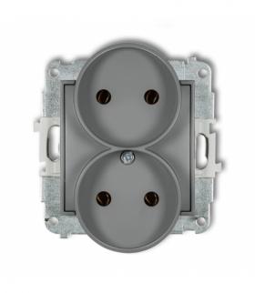 MINI Mechanizm gniazda podwójnego do ramki bez uziemienia 2x2P (bez przesłon torów prądowych) Szary mat Karlik 27MGPR-2