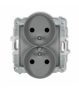 MINI Mechanizm gniazda podwójnego do ramki z uziemieniem 2x(2P+Z) (przesłony torów prądowych) Szary mat Karlik 27MGPR-2zp