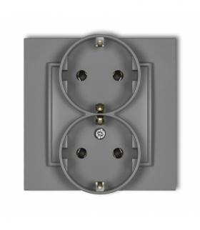 MINI Gniazdo podwójne z uziemieniem SCHUKO 2x(2P+Z) (bez przesłon torów prądowych) Szary mat Karlik 27MGP-2s