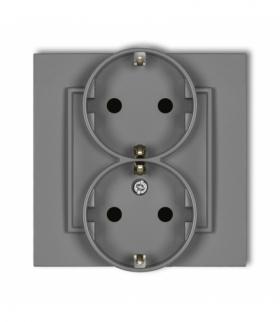 MINI Gniazdo podwójne z uziemieniem SCHUKO 2x(2P+Z) (przesłony torów prądowych) Szary mat Karlik 27MGP-2sp
