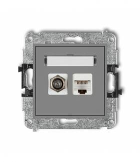 MINI Mechanizm gniazda antenowego poj. typu F (SAT) + gniazda komp. poj. 1xRJ45 kat. 5e 8-stykowy Szary mat Karlik 27MGFK