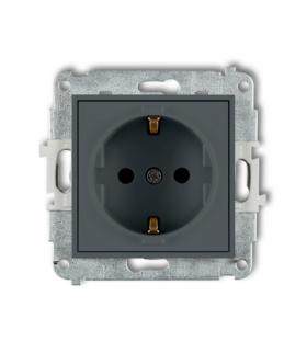 MINI Mechanizm gniazda pojedynczego z uziemieniem SCHUKO 2P+Z (przesłony torów prądowych) Grafitowy mat Karlik 28MGP-1sp