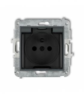 MINI Mechanizm gniazda bryzgoszczelnego z uziemieniem 2P+Z (klapka dymna przesłony torów prądowych) Grafitowy mat Karlik 28MGPB-