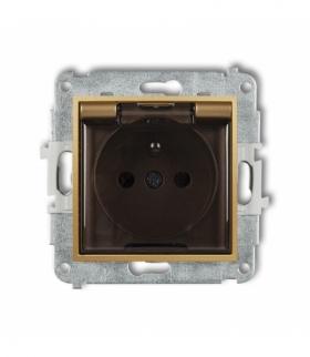MINI Mechanizm gniazda bryzgoszczelnego z uziemieniem 2P+Z (klapka dymna przesłony torów prądowych) Złoty Karlik 29MGPB-1zdp
