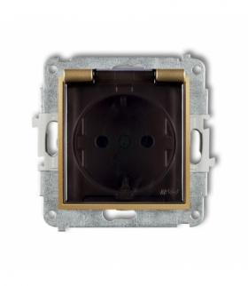 MINI Mechanizm gniazda bryzgoszczelnego z uziemieniem SCHUKO 2P+Z (klapka dymna przesłony torów prądowych) Złoty Karlik 29MGPB-1