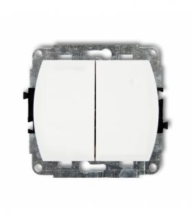 TREND Mechanizm łącznika jednobiegunowego ze schodowym podświetlanego (dwa klawisze bez piktogramów wspólne zasilanie) Biały Kar