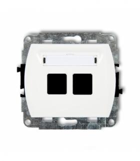 TREND Mechanizm gniazda multimedialnego podwójnego bez modułu (standard Keystone) Biały Karlik GM-2P