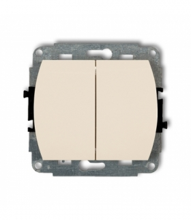 TREND Mechanizm łącznika jednobiegunowego ze schodowym (dwa klawisze bez piktogramów wspolne zasilanie) Beżowy Karlik 1WP-10.11