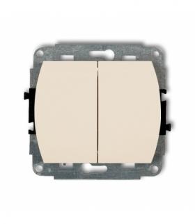 TREND Mechanizm łącznika jednobiegunowego ze schodowym podświetlanego (dwa klawisze bez piktogramów wspólne zasilanie) Beżowy Ka