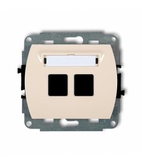 TREND Mechanizm gniazda multimedialnego podwójnego bez modułu (standard Keystone) Beżowy Karlik 1GM-2P