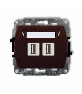 TREND Mechanizm gniazda podwójnego 2xUSB-AA 2.0 Brązowy Karlik 4GUSB-2