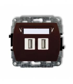 TREND Mechanizm gniazda podwójnego 2xUSB-AA 3.0 Brązowy Karlik 4GUSB-6