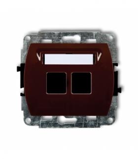 TREND Mechanizm gniazda multimedialnego podwójnego bez modułu (standard Keystone) Brązowy Karlik 4GM-2P