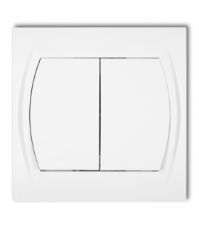 LOGO Łącznik podwójny schodowy (dwa klawisze bez piktogramów) Biały Karlik LWP-33.1