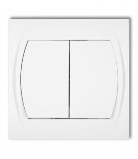LOGO Łącznik jednobiegunowy ze schodowym (dwa klawisze bez piktogramów wspólne zasilanie) Biały Karlik LWP-10.11