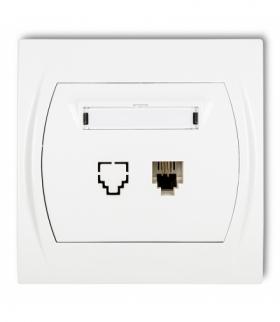 LOGO Gniazdo telefoniczne pojedyncze 1xRJ11 4-stykowy Biały Karlik LGT-1