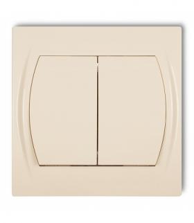 LOGO Łącznik jednobiegunowy ze schodowym (dwa klawisze bez piktogramów wspólne zasilanie) Beżowy Karlik 1LWP-10.11